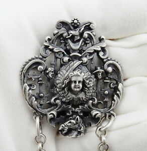 Antique 800 Sterling Silver Chatelaine Four Chain Belt Clip Chatelaine Circa1850