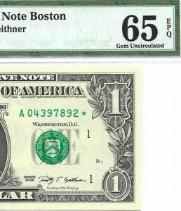 2009 $1 BOSTON * STAR * 🌟 FRN, PMG GEM UNCIRCULATED 65 EPQ BANKNOTE