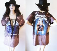 Metallica ombre Bleached lace up t shirt dress or tunic S-XL