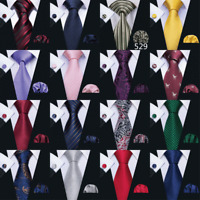 30 Colors Mens Silk Tie Necktie Set Solid Plain Red Blue Black Green Wedding USA