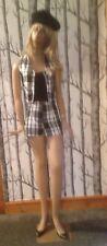 Black tartan shorts & waistcoat with squirrel motif be bold
