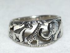 Sterling Silver Detailed Giraffe & Elephant in Open Cut Design Ring Size 7
