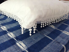 Antique/Vintage French cotton pillow sham with passementerie pom pom trim