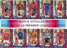 Topps MATCH ATTAX EXTRA 2017 - Full set of 10  PREMIER LEAGUE LEGENDS foils