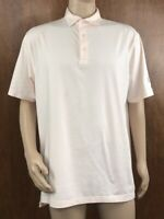 Peter Millar Mens Summer Comfort Golf Polo Shirt White / Orange Striped Large