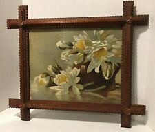 Tramp Art Floral Still Life Signed Painting
