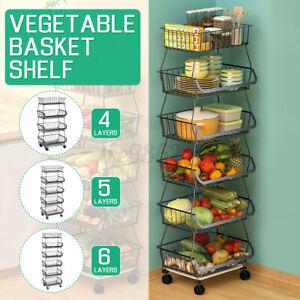 6 Tier Vegetable Trolley Kitchen Storage Rack w/ Wheel Basket Holder Stand