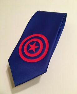 Captain America Tie, Really Cool Necktie, Blue And Red Design, Stylish, Elegant