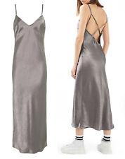 NWT TOPSHOP Cross Strap Metallic Maxi Slip Dress Silver Size EUR 42 US 10 UK 14