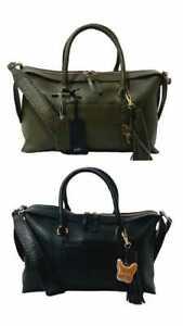 Ben de Lisi Leather Montauk Large Tote Bag Olive Green & Black NEW (RRP £147.00)