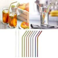 10PCS Reusable Metal Drinking Straws / 304 Stainless Steel Set Straw Curved X2K1