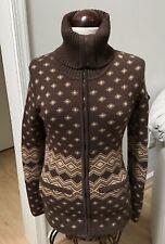 Athleta Women L Brown Tan Wool Blend Dimond Pattern Cardigan Sweater Fits Slim