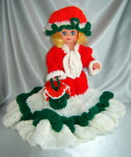 """Adorable Blue Eyed Doll w/ Handmade Crocheted Christmas Dress Outfit (16"""" tall)"""