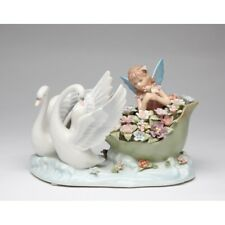 """NEW MUSICAL """"SWAN WITH FAIRY"""" WHITE+BLUE+GREEN+PINK PORCELAIN FIGURINE-NAIS"""