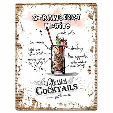 PP0699 Cocktails Strawberry MOJITO Plate Sign Home Bar Store Restaurant Decor