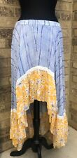 Melissa Paige Asymmetric Maxi SKIRT Striped Floral Blue Yellow Women's Sz L