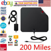 Ultra Thin Flat Indoor HDTV Amplified HD TV Signal Antenna 16FT Coax 200 Mile