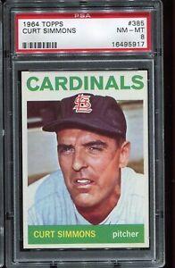1964 Topps Baseball #385 CURT SIMMONS St Louis Cardinals PSA 8 NM-MT