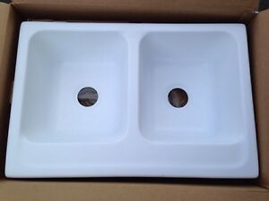 NEW Karran Solid Surface Sink Double Sinks Equal Bowl White