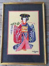 Vintage Needlepoint Geisha Orient Framed Japan Colorful Gold Background Framed