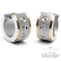 Edelstahl Damen Ohrringe Klapp-Creolen Silber Gold Gebürstet 3 Zirkonia 13mm Ø