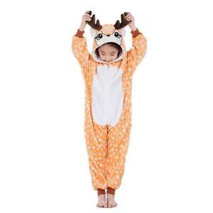 One-Piece Kid's Animal Pajamas Halloween Party Cosplay Sleepwear Deer- 4T