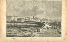 Boulogne Pas-de-Calais FRANCE GRAVURE ANTIQUE OLD PRINT 1882