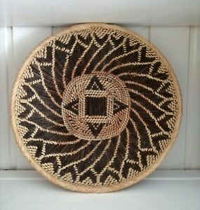 Woven Traditional African Basket Plate Bowl Wall Display Art Wood Straw Boho