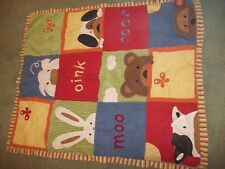 New listing 4A Vintage Cocalo Farm Animals Cow Pig Bunny Bear Quilt Crib Comforter/blanket