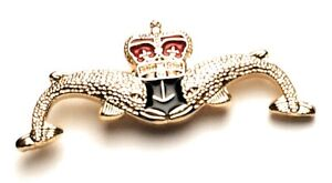 Small Royal Submariners Double Dolphin Lapel Pin Badge Gift Pouch FREE Delivery