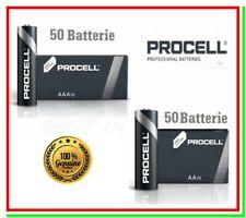 50 AA stilo + 50 AAA ministilo duracell procell pile alcaline = 100 batterie
