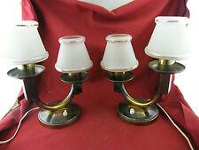 Paire de Lampes de Chevet Art Déco en Laiton et Verre