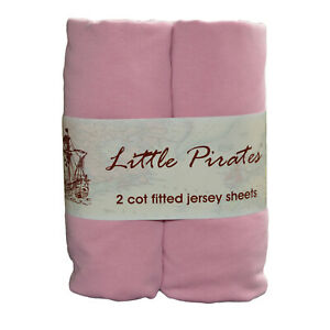 2 x Baby Cot Fitted sheet 60x120 100% cotton jersey Pink