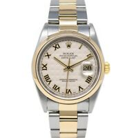Rolex Datejust 36 Steel & Gold 16203 Wristwatch - Ivory Pyramid Roman, Oyster
