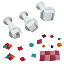 3PCS HOT Square Fondant Cake Plunger Cutter Mold Sugarcraft Tool Pastry Decor DE