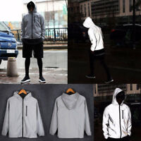 Men's  3M Reflective Jacket Waterproof Cycling Motorcycle Night Safe Coat Hoodie