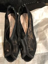 "Shoes, GLINT, black lace with satin edging, peep hole toe, 4"" stilleto heel, 5M"