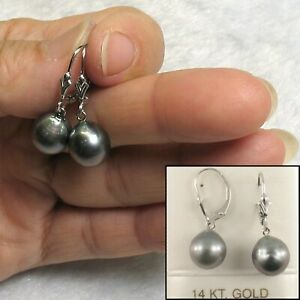 Simple & Beautiful Black Tahitian Pearl 14k White Gold Leverblack Earrings TPJ