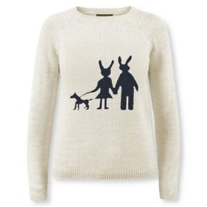 Women Knit Bunny Rabbit Sweater Pullover Jumper Modern Acrylic Cotton S M L