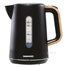 Daewoo Stockholm 1.7L Cordless Kettle Modern Matte Black with Wood Effect Handle