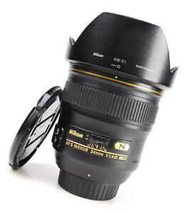 Nikon AF-S  24mm F1.4 SMW ED RF Aspherical Wide Angle Lens + F/R Caps + Hood EXC