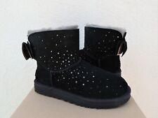 UGG BLACK STARGIRL PERF MINI BAILEY BOW SHEEPOOL BOOTS, US 9/ EUR 40 ~NIB