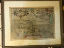 Antique Dutch map of the Carribean , Mexico, and the tip of Florida; Ortelius