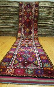 "Bohemian 1930-1949s Nagorno-Karabakh Wool Pile Armenian Runner Rug 2'8""×13'"