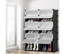 24 Pairs 12 Cube Bedroom Wardrobe Stackable Storage Shoe Rack Organiser Shelf.