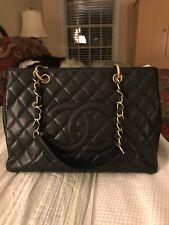 Chanel Black Caviar Leather GST Grand Shopping Tote Bag Purse Handbag Gold SHW