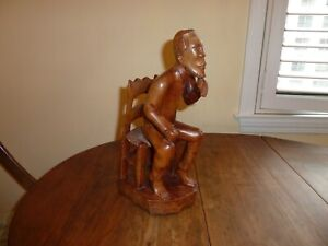 Haitian Vintage John Fonny 1967 Carved Wood Folk Art Sculpture, Man Chair
