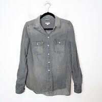 Merona Gray Chambray Button Up Shirt Womens Size M