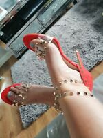 Women's red shoes by belle star ladies clear studded high heel stilettos size 7