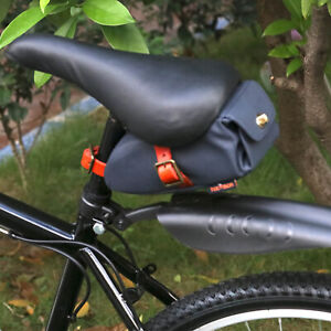 Tourbon Canvas Bike Saddle Bag Commuter Seat Storage Strap Cycling Pouch in Blue
